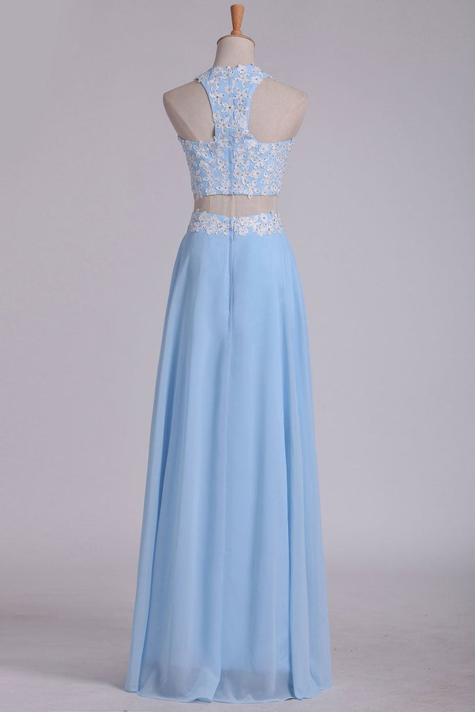 2020 A Line Halter Two Pieces Chiffon With Applique Prom Dresses