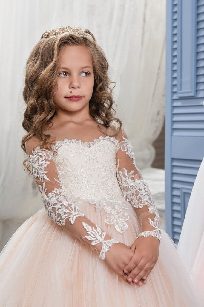 2019 Scoop Flower Girl Dresses Ball Gown Long Sleeves Tulle
