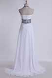 Halter Prom Dresses A-Line Pick Up Long Chiffon Skirt Ruffled With Crystal Beading