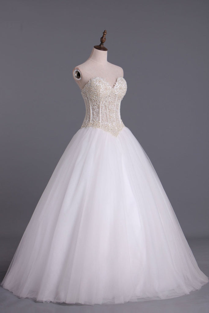 2019 Wedding Dresses A-Line Sweetheart See Through Tulle With Pearls Lace Up Floor