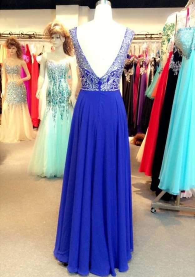Elegant Prom Dresses Scoop A Line Floor Length beading chiffon prom gowns long evening dress