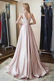 Elegant A Line V Neck Satin Beads V Back Pink Sleeveless Long Prom Dresses