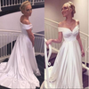 Elegant V-neck Cap Sleeves A-line Satin Wedding Dress Bride Gown