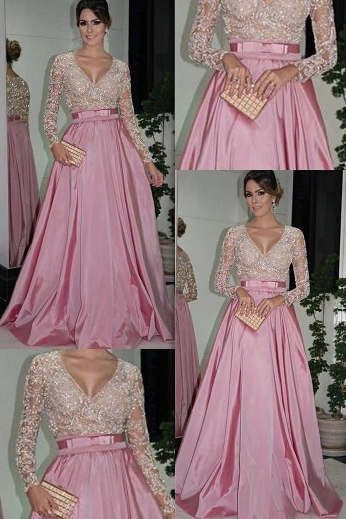 2019 Prom Dresses V Neck Long Sleeves A Line Taffeta With Beading
