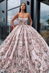 Princess Ball Gown Spaghetti Straps Beads Floral Print Prom Dresses Long Quinceanera Dress STC15294