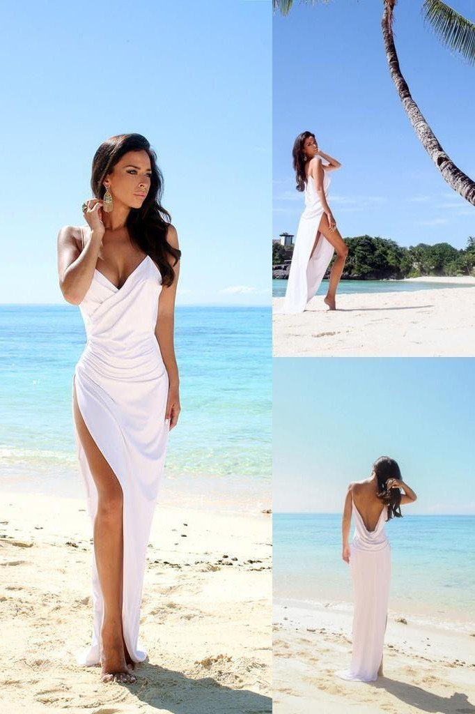 Simple Sexy Open Back Beach Wedding Dresses Side Slit Spaghetti Straps Summer Bridal Party Gown White Wedding Gown Shmilyprom,Knee Length Fall Wedding Guest Dresses With Sleeves