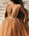 Ball Gown Tulle V Neck Homecoming Dresses with Appliques Short Prom STC15620
