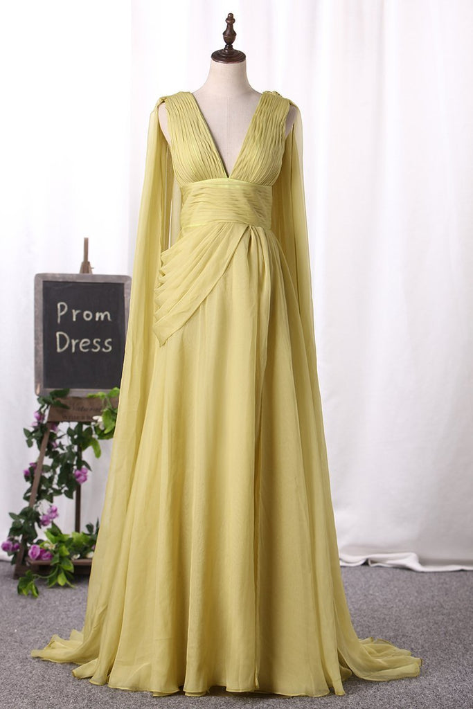 Prom Dresses Flowing V-Neck Chiffon Column With