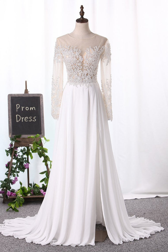 2019 Bateau Wedding Dresses Long Sleeves A Line Chiffon With Applique And