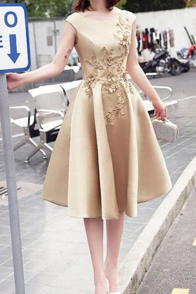 2019 Homecoming Dresses A Line Scoop Satin With Applique Lace