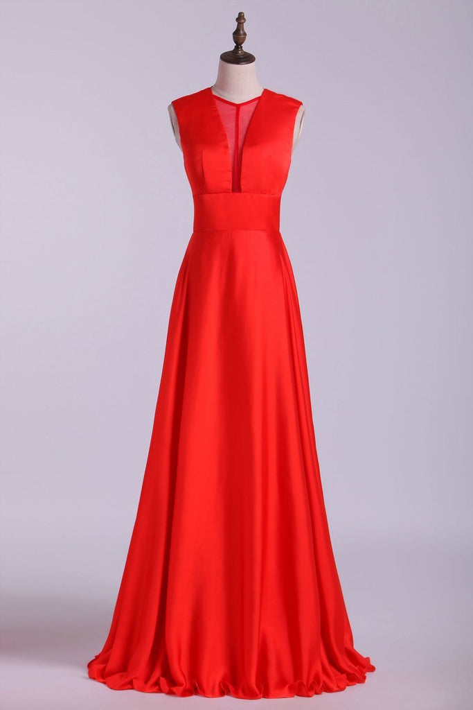 2019 New V-Neck Prom Dresses A-Line Chiffon Floor-Length