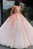 Princess Ball Gown Pink Tulle Prom Dresses with Handmade Flowers Quinceanera STC15658