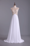 2019 Scoop Neckline Off The Shoulder Prom Dresses White Floor Length Chiffon With Gold