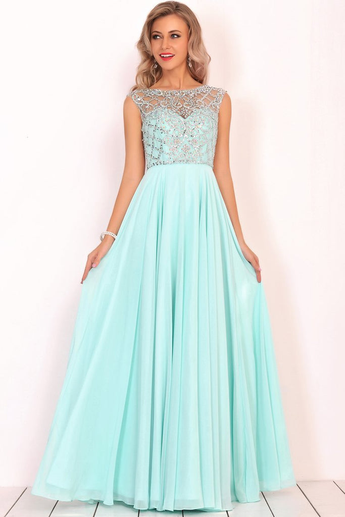 2020 A Line Boat Neck Chiffon Prom Dresses With Beading Floor Length