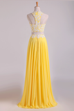 New Arrival Halter Prom Dresses A-Line With Applique Chiffon