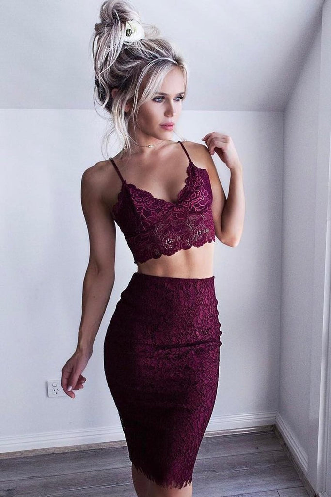 2019 Spaghetti Straps Lace Two-Piece Cocktail