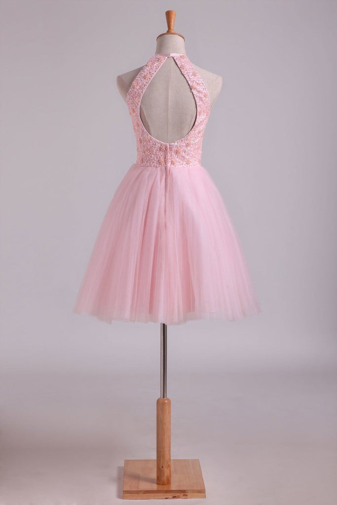 Halter Homecoming Dresses A-Line Tulle Short/Mini Beaded Bodice