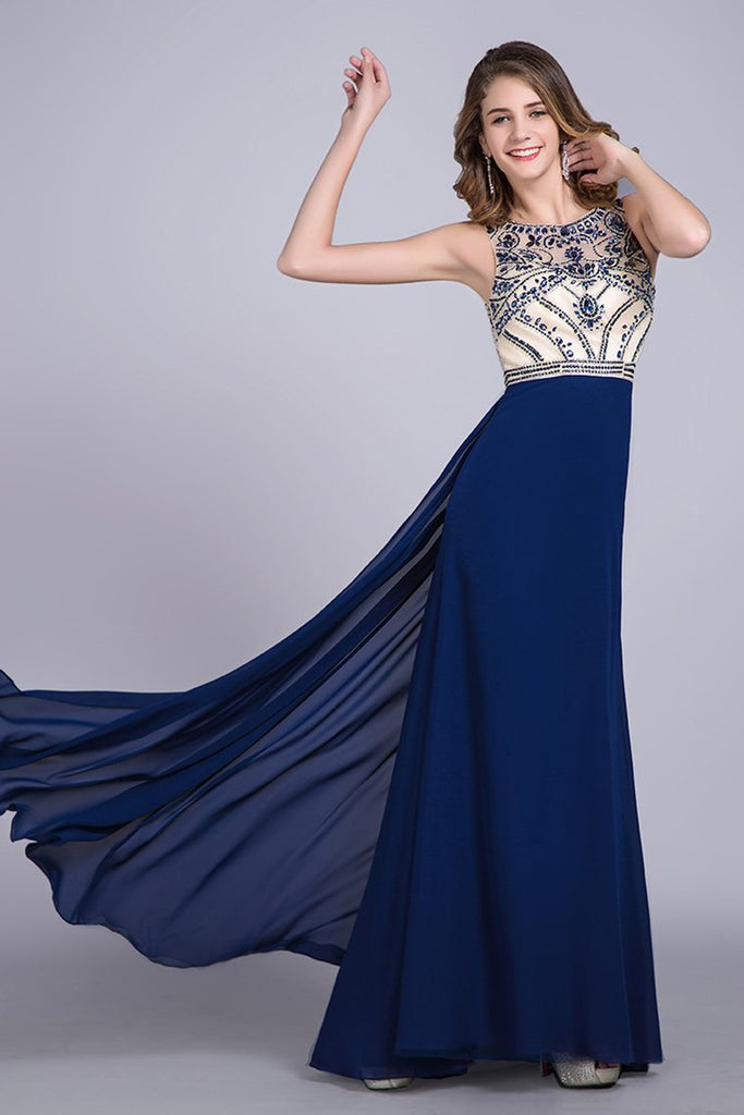 2019 Prom Dresses Scoop A Line Full Length Beaded Tulle Bodice With Chiffon Skirt Ready To Ship