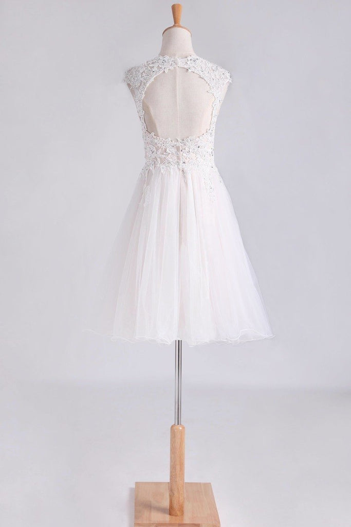 Homecoming Dresses Scoop Short/Mini A Line Tulle With Applique And Beading