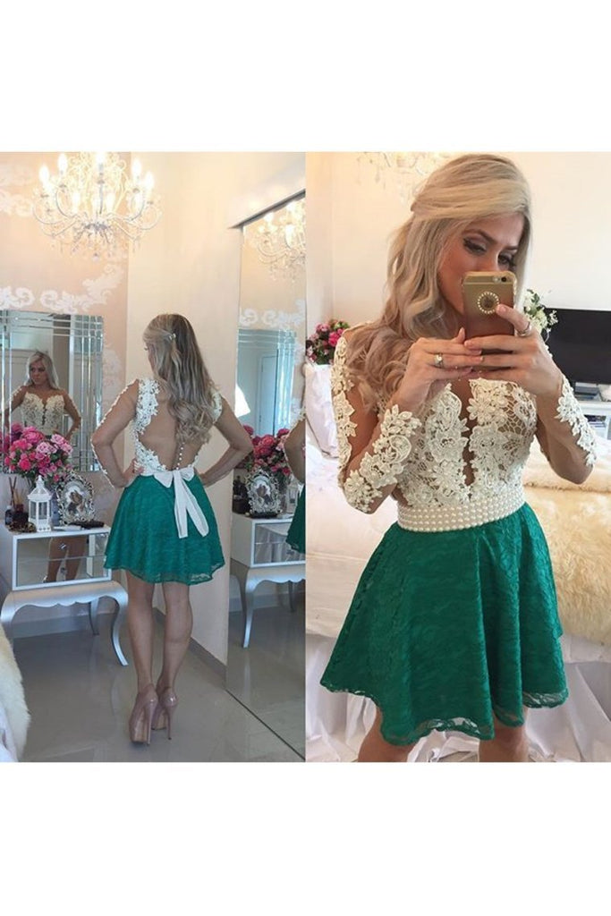 2019 Scoop Homecoming Dresses A Line Long Sleeves Lace