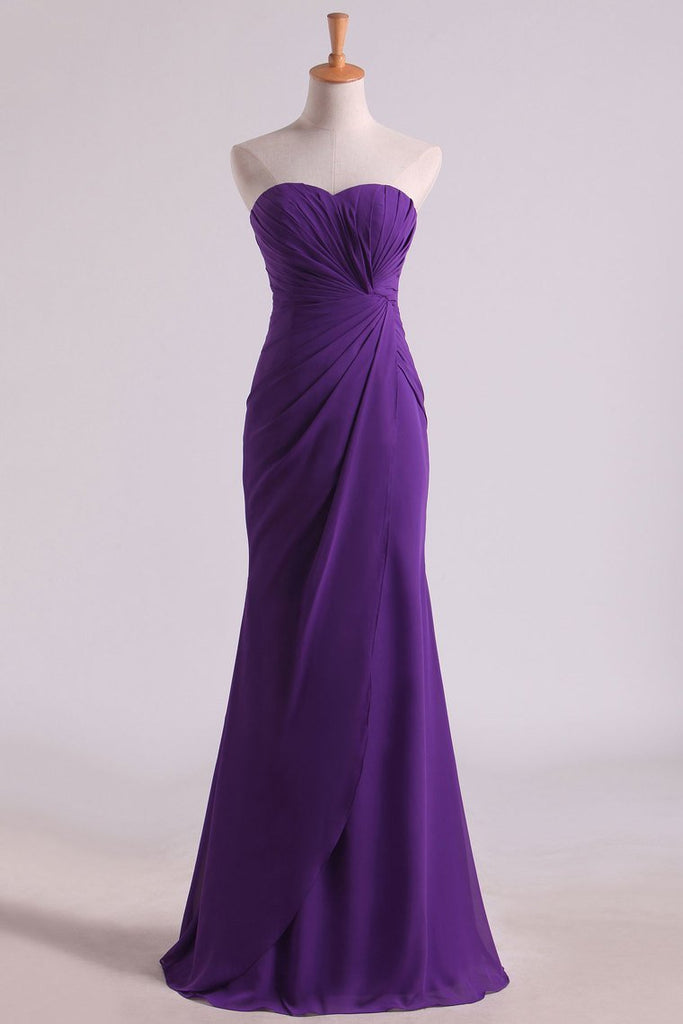Hot Purple Sweetheart Ruffled Bodice Floor Length Sheath Chifoon Evening Dresses