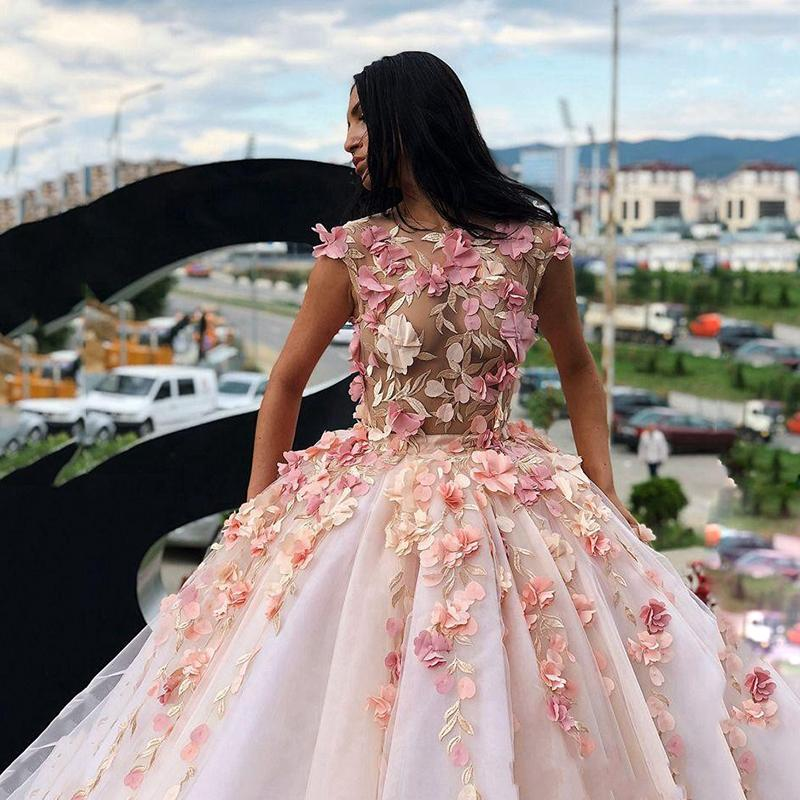 Princess Ball Gown Pink Tulle Prom Dresses with Handmade Flowers, Quinceanera STC20430