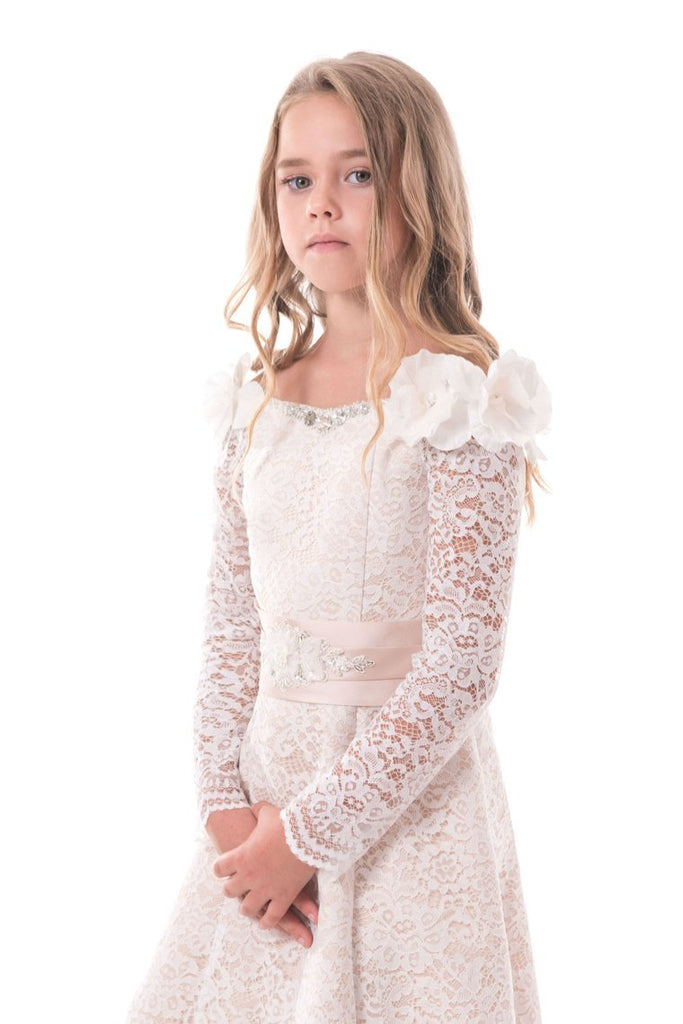 2019 Lace Flower Girl Dresses A Line Boat Neck Long Sleeves With