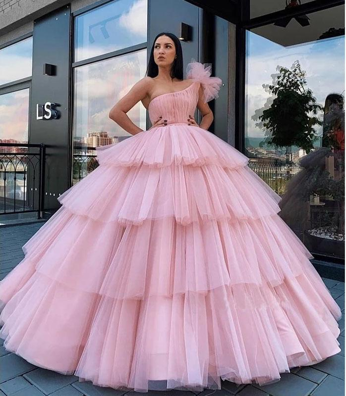 Charming Ball Gown Tulle Pink One Shoulder Long Prom Dresses, Quinceanera Dresses STC15096