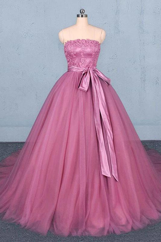 Princess Ball Gown Strapless Wedding Dresses with Lace, Quinceanera Dresses STC15295