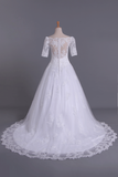 2021 New Arrival Wedding Dresses Boat Neck Short Sleeves Chapel Train With Applique