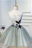 Luxury Waist Flowers See Through Backside Lolita Dress, Short Tulle Homecoming Dresses STC14980