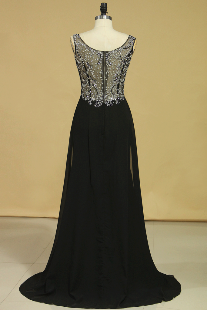 2019 Black Prom Dresses Off The Shoulder See-Through Beaded Bodice Chiffon
