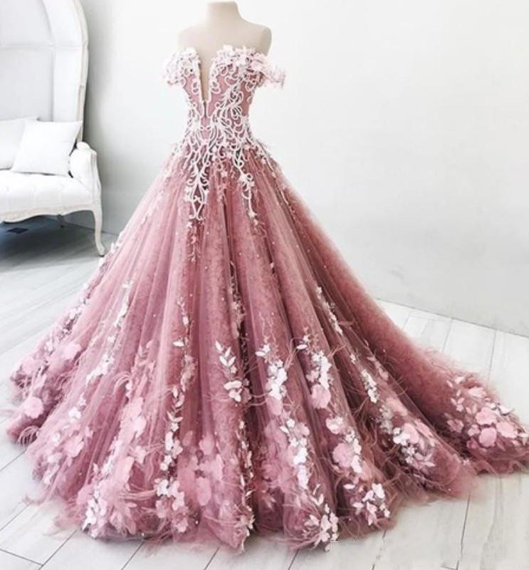 Ball Gown Off the Shoulder V Neck Tulle Lavender Beads Prom Dresses, Quinceanera Dresses STC15562
