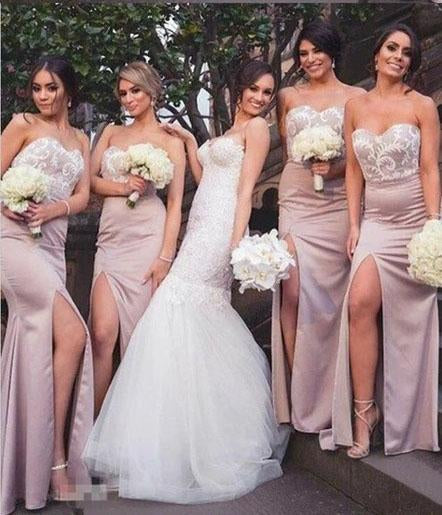 Mermaid Sweetheart Blush Bridesmaid Dresses with Lace, Wedding Party STC20465