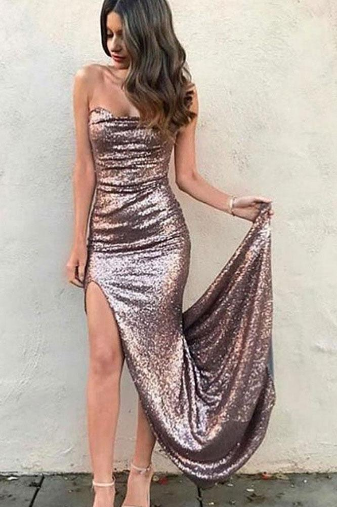 Sexy Mermaid Strapless Sequins Prom Dresses with Slit Long Evening STC15667
