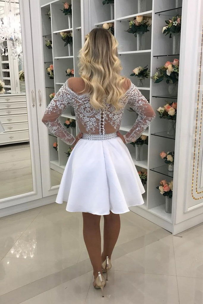 2019 Homecoming Dresses Scoop Long Sleeves A Line Satin With Applique And