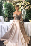2021 New Arrival Off The Shoulder Prom Dresses A Line Beaded Bodice