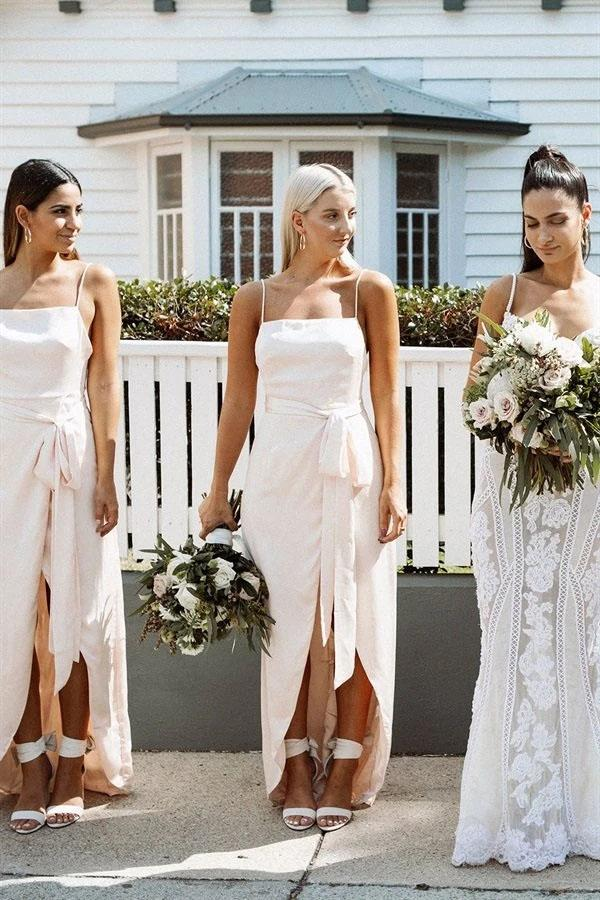 A Line Chiffon Spaghetti Straps Blush Pink Bridesmaid Dresses with Split, Long Prom Dress STC15486
