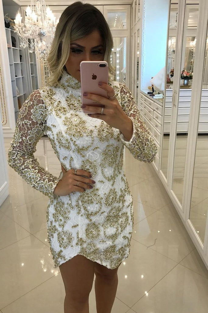 2019 High Neck Sheath Homecoming Dresses Long Sleeves Lace With Beading