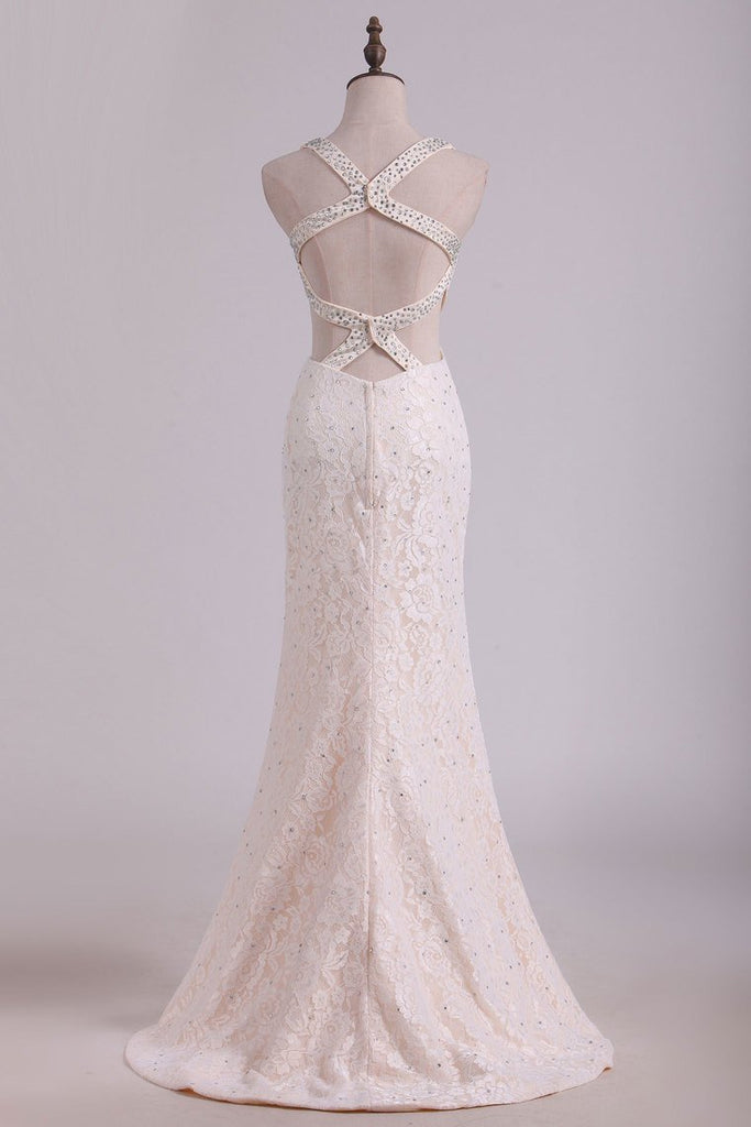 Straps Prom Dresses Mermaid Lace With Beading Sweep Train Open
