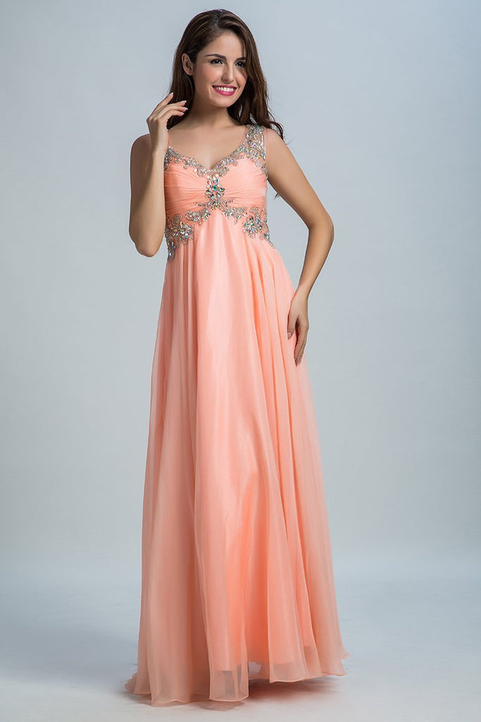 2019 Chiffon V Neck A Line Prom Dresses  With Beads And Ruffles