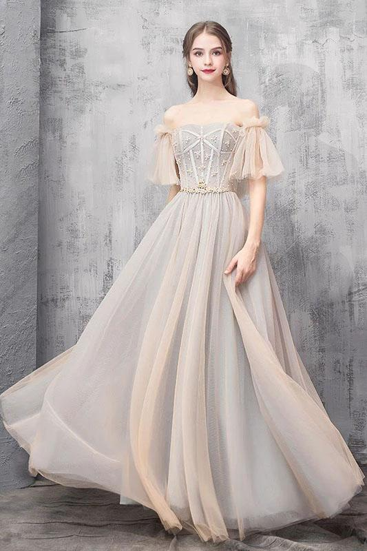 Elegant Off Shoulder Floor Length Tulle Prom Dress, Lace up Bridesmaid Dresses STC15185