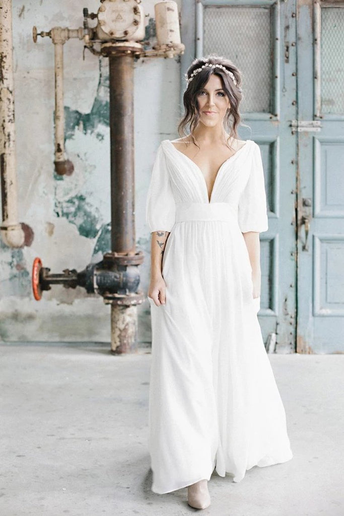 Simple A Line Ivory Chiffon V Neck Wedding Dresses Half Sleeves Long Wedding STCP42YQLZ1