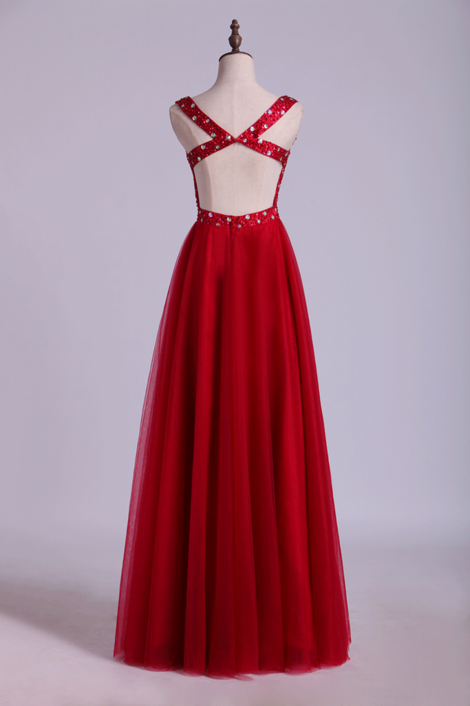 V Neck Backless A Line/Princess Prom Dress With Tulle Skirt Beaded