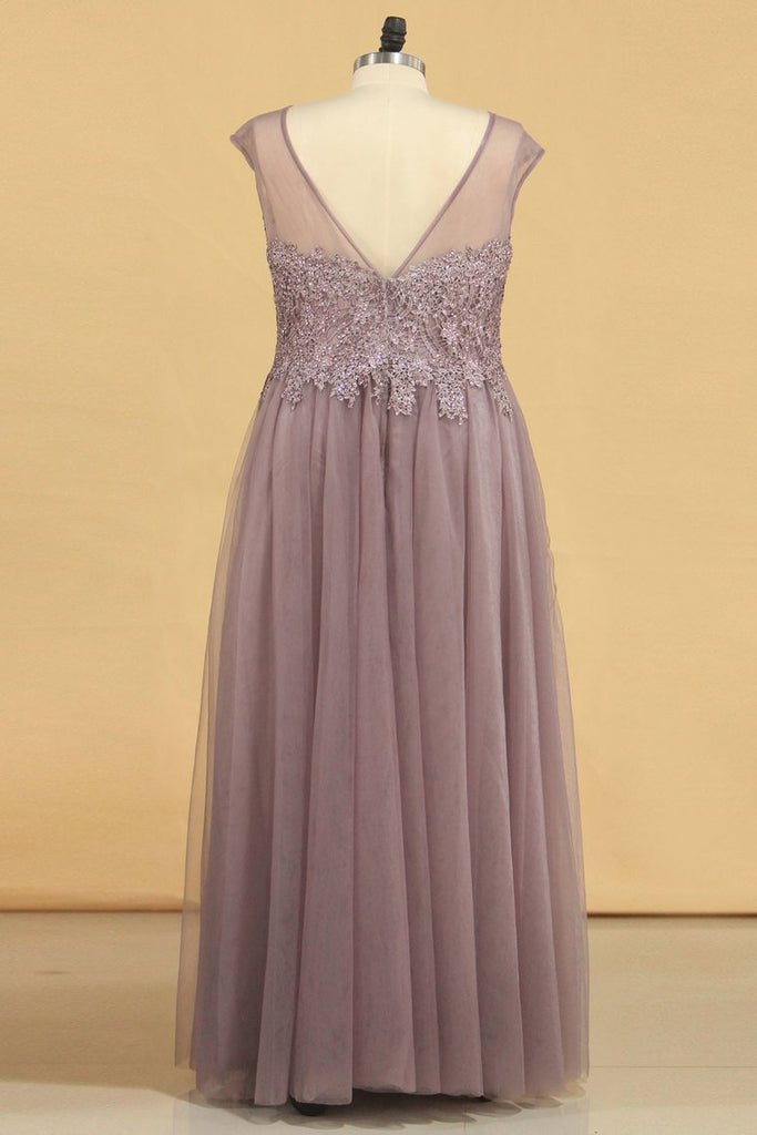 2019 Prom Dresses A Line Scoop Floor Length Tulle With Applique