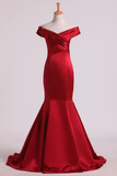 Prom Dresses Off The Shoulder Satin Mermaid Burgundy/Maroon Sweep Train