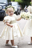 Vintage Juliet Sleeves Tea Length Round Neck Satin Flower Girl Dresses, Little Dresses STC15606