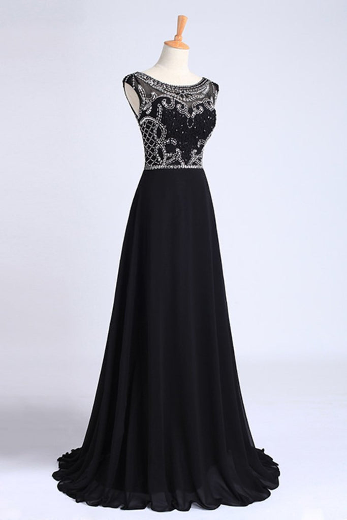 Prom Dresses A-Line Scoop Dark Navy Blue Long Chiffon Chic Dresses