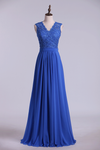 2019 V Neck Cap Sleeves Prom Dresses Chiffon Floor Length With Applique & Sash