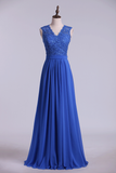 V Neck Cap Sleeves Prom Dresses Chiffon Floor Length With Applique & Sash